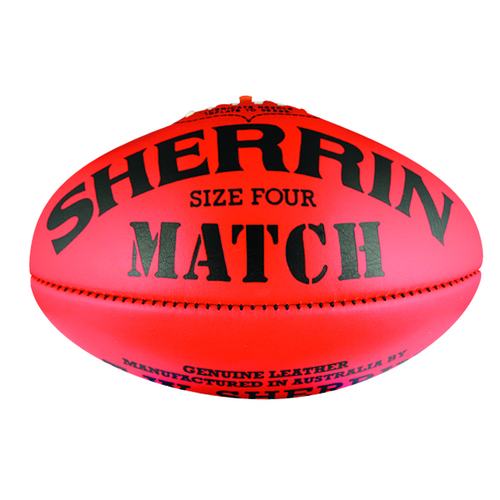 Sherrin Match Aussie Rules Football [Colour: Red] [Size: 4]